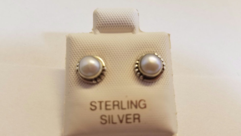 Bezel set sterling silver studs