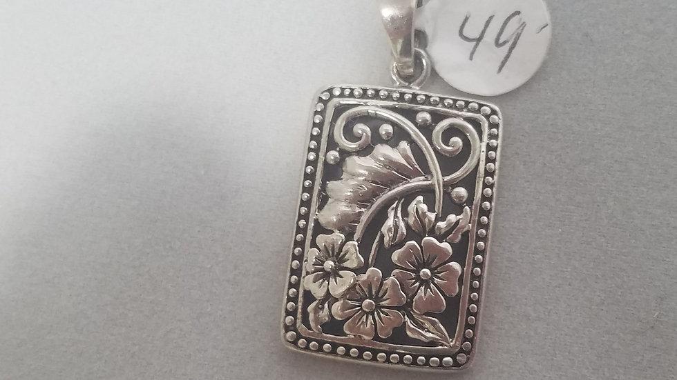 Silver rectangular Filigree pendant