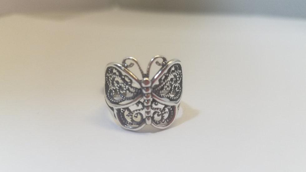 Medium Sterling silver filigree butterfly ring