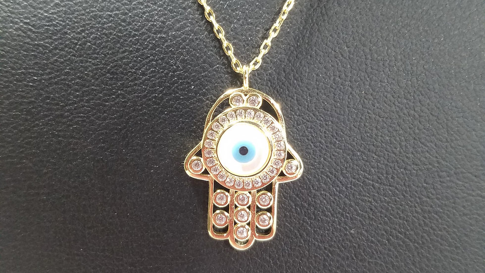 Hamsa and evil eye pendant and chain39.