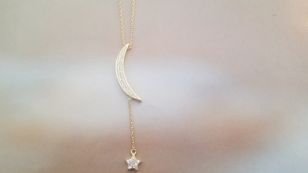 CZ Moon and star necklace