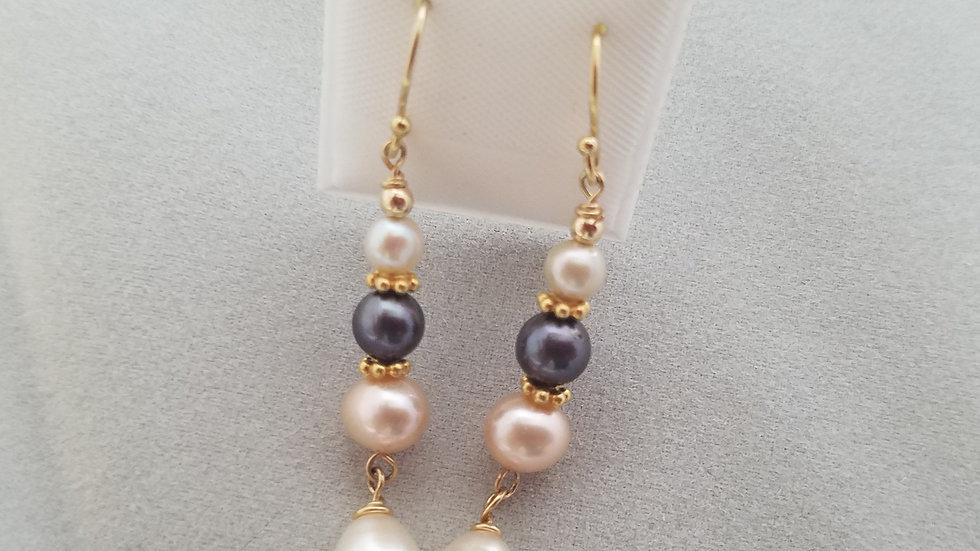Multi pearl earrings