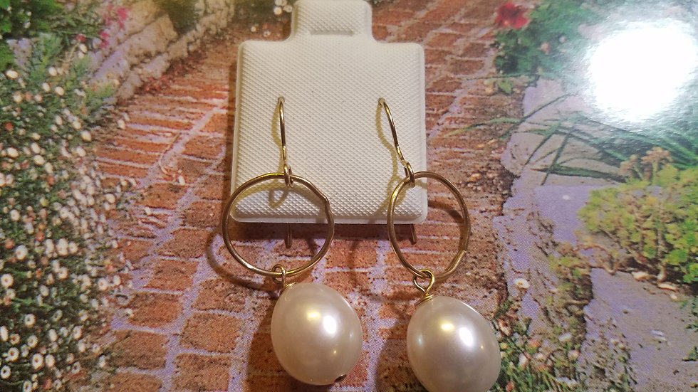 Large Fresh Water pearls with gold filled circles