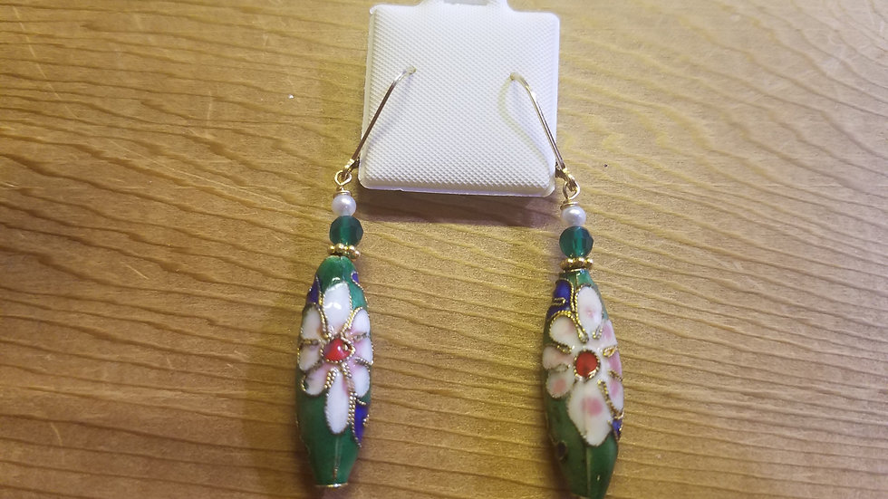 Colorful Cloisonne and pearl gold filled earrings