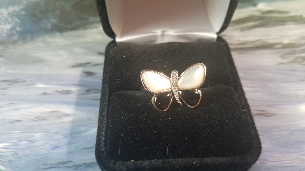 Mother of Pearl and Onyx Butterfly ring