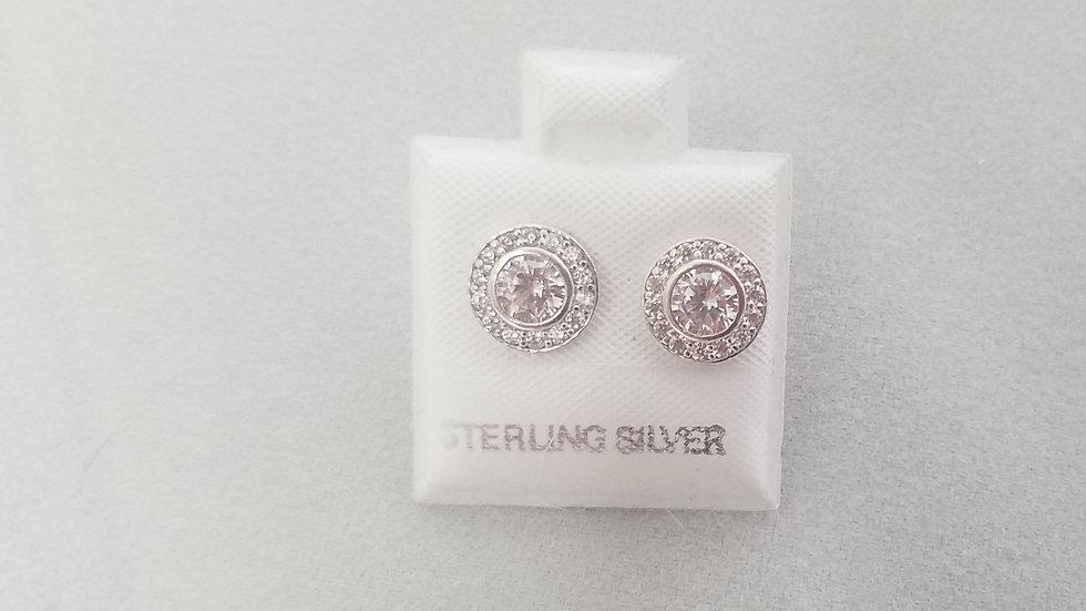 Halo Studs Bezel set cz earrings