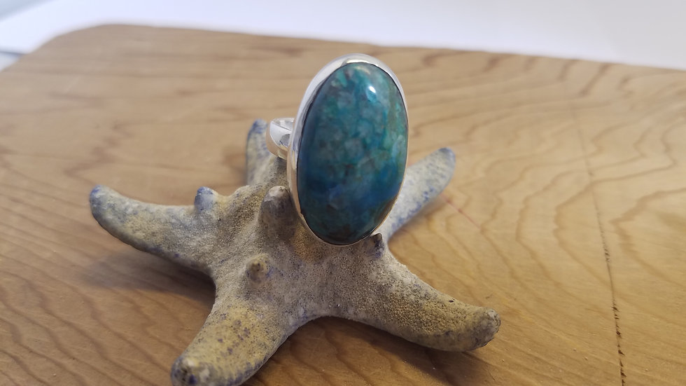 Turquoise ring bezel set in Sterling silver