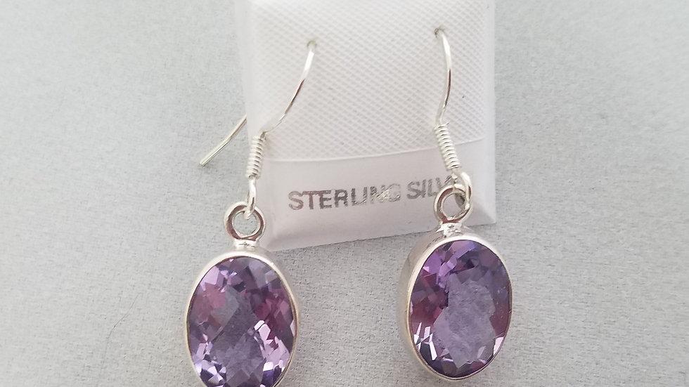 Amethyst bezel earrings