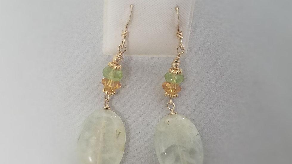 Green Prehnite Oval earrings
