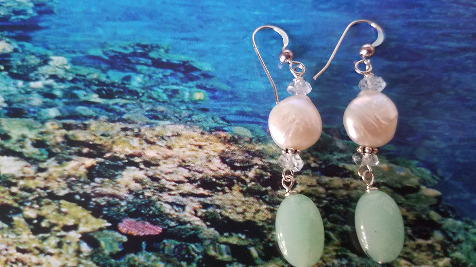 Chalcedony and fresh water pearl earrings