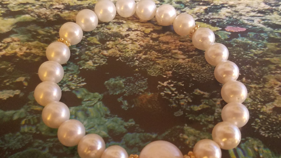 Glass pearl and Coin pearl bracelet