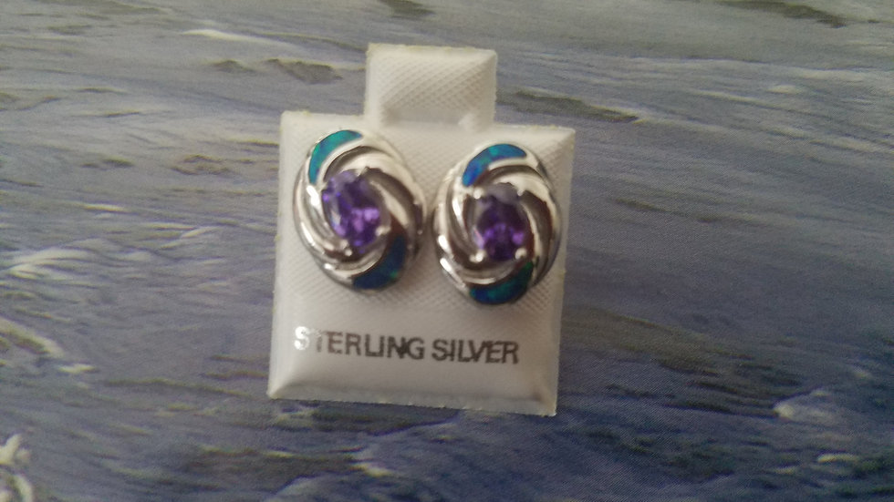 Inlaid Opal and Synthetic amethyst earrings