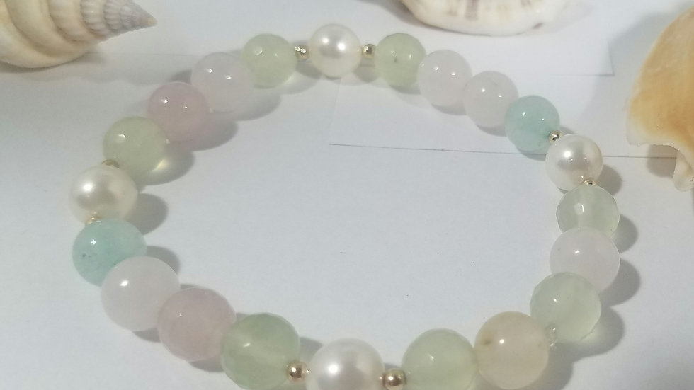Pastels  beaded and pearl bracelet