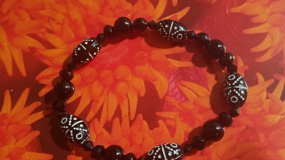 Onyx and vintage beaded stretch bracelet