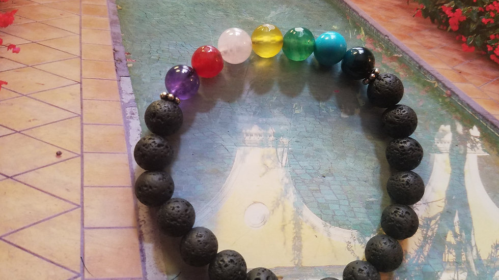 Lava rock and 7 gemstone bracelet