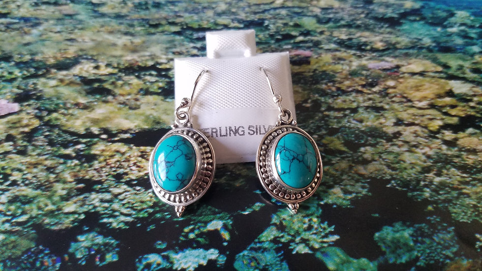 Turquoise bezel set dangling earrings