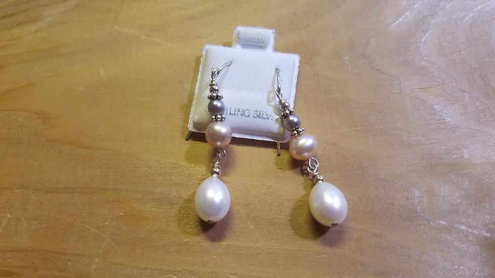 Multi-color pearl drop earrings in Sterling Silver