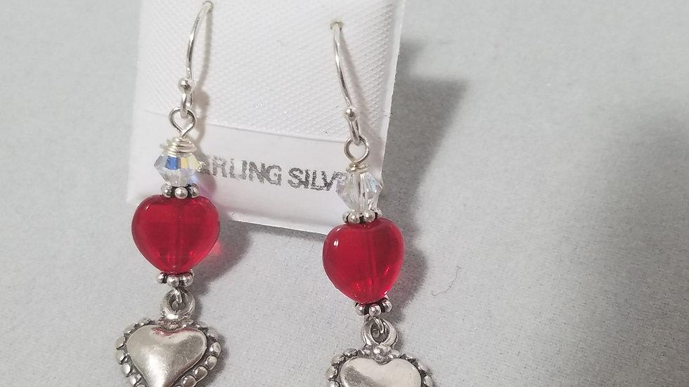 Red hearts in sterling earrings