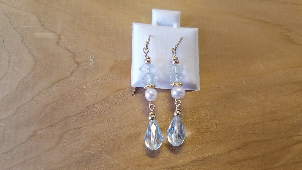 Gold Flled Blue crystal and aquamarine freshwater pearl earrings