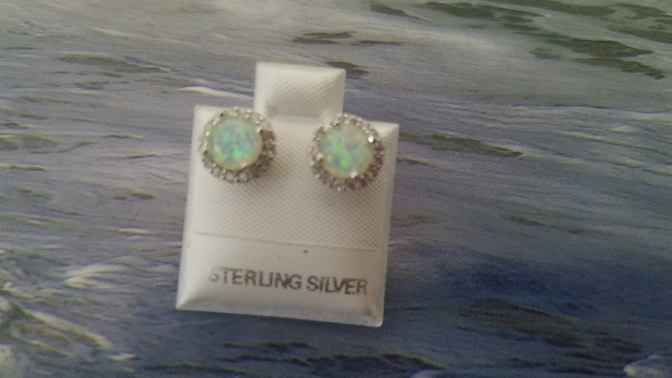 Halo  style with cz and lab created opal earring studs