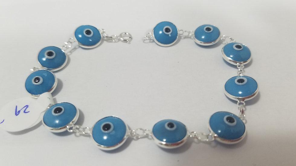 Blue sterling silver evil eye bracelet