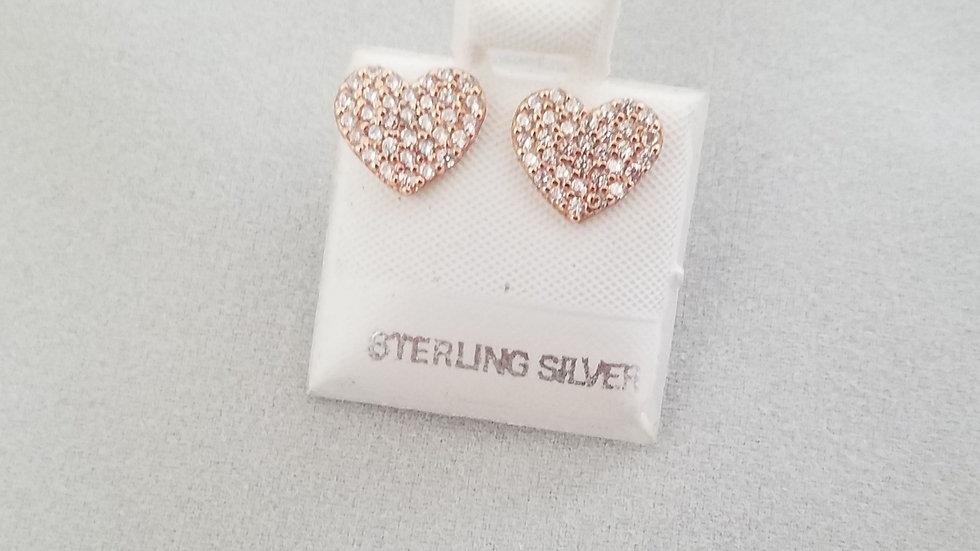 Rose gold plated cz heart earrings