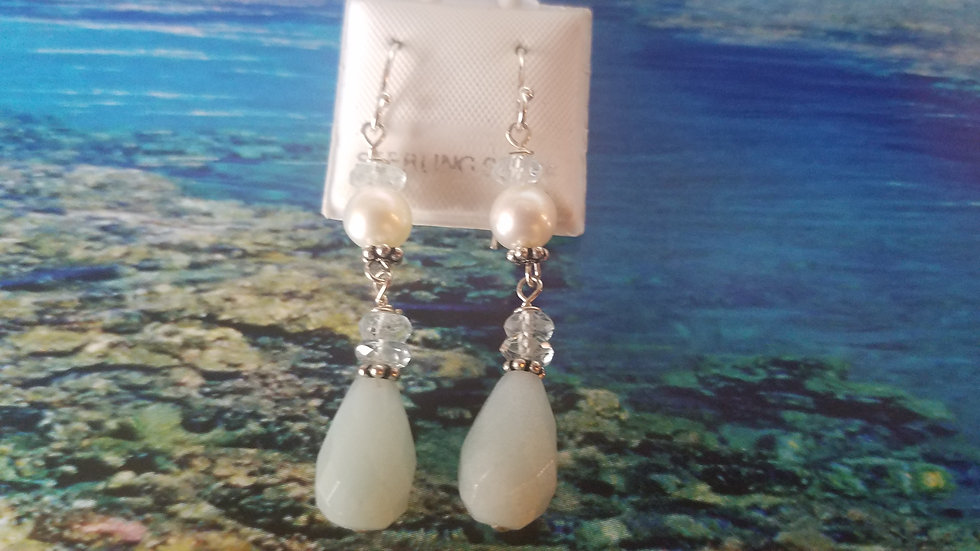 Chalcedony, aqua and pearl earrings