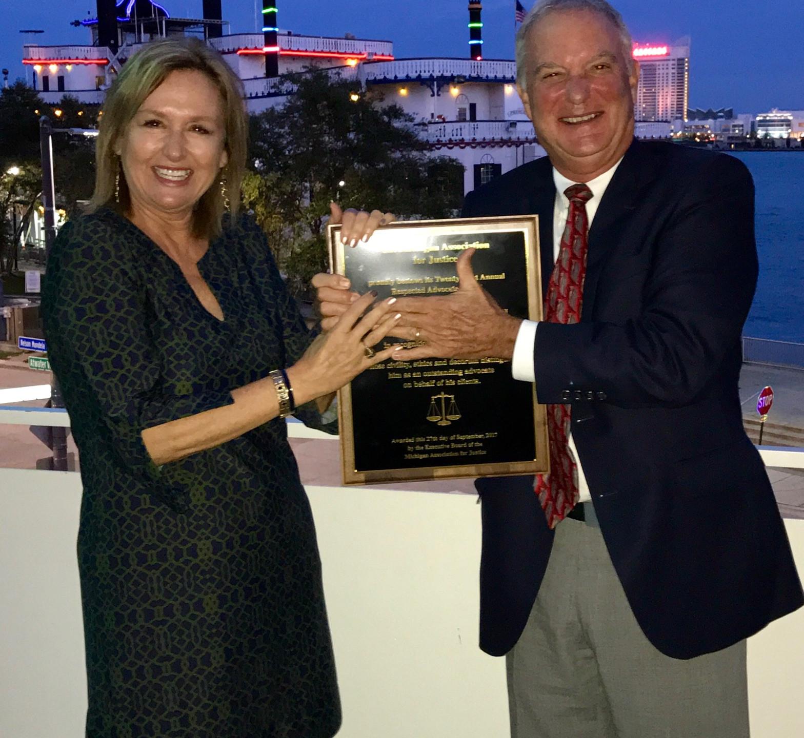 Walt with Brian's award