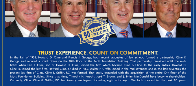 Happy Birthday! Cline, Cline & Griffin P.C. is Ninety Years Old!