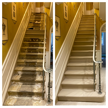 Stone staircase repair in Kensington, London, UK