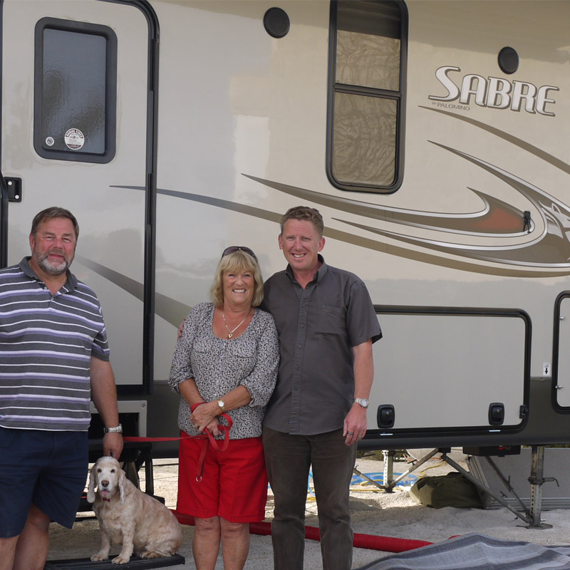Happy with their new Sabre 5th wheel