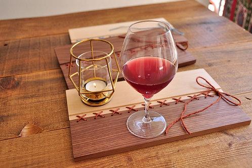 刺繡トレイ/ウォールナット材×メープル×ブラウン糸/コースター/ランチョンマット
