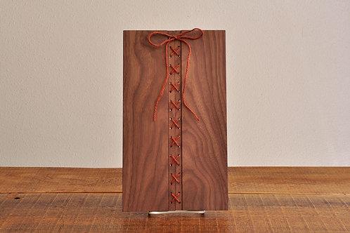 刺繡トレイ/ウォールナット材×ブラウン糸/コースター/ランチョンマット