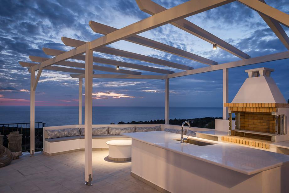 Villa Apollonia exterior by night
