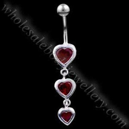 Triple Heart Silver & Steel Navel (BM004)