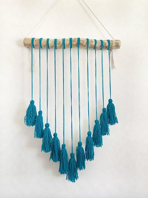 Teal Tassel Wall Hanging, Home Decor, Boho Hanging