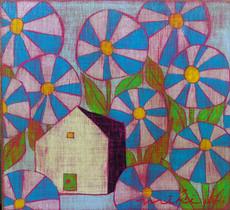青い花と家