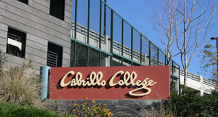 Cabrillo College sign near entrance.