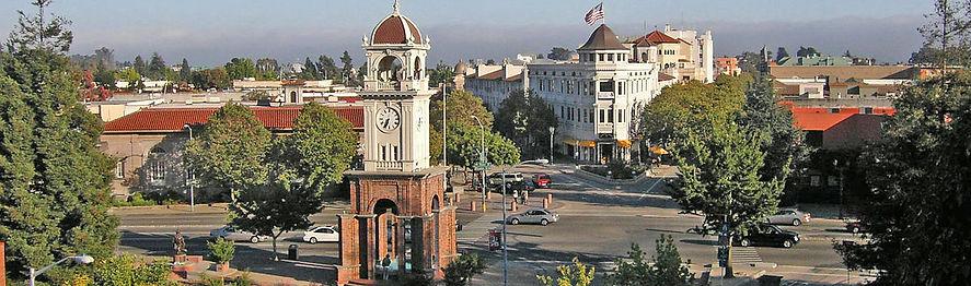 An ariel shot of downtown Santa Cruz's tower clock.
