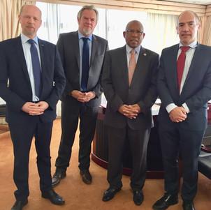 Frazer Solar team with Lesotho Finance Minister Dr Moeketsi Majoro