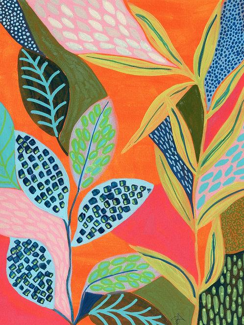 Graceful Leaves - Vertical Giclée Print