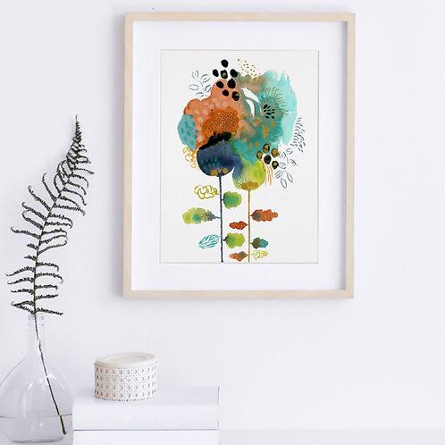 Orange Loves Turquoise - Original, 9 x 12 on paper