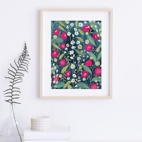 Midnight Garden - Original, 9 x 12 on paper