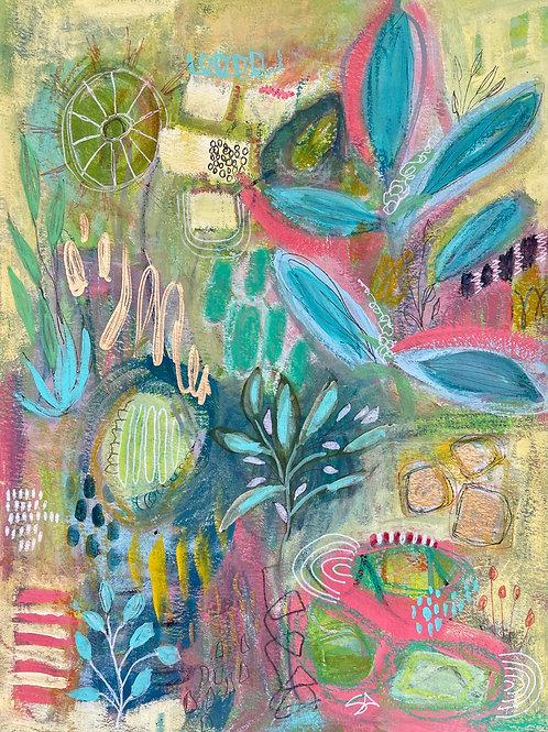 Adventures in the Garden - 9 x 12 on paper