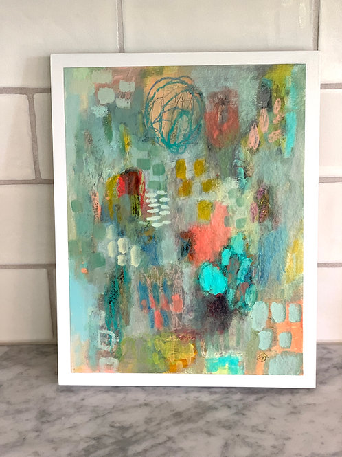 Sea Glass- 9x12 artwork on 11x14 wood panel