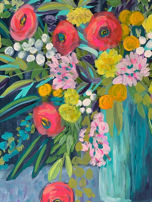 Midnight Brunch - Original Floral Painting, 16 x 20