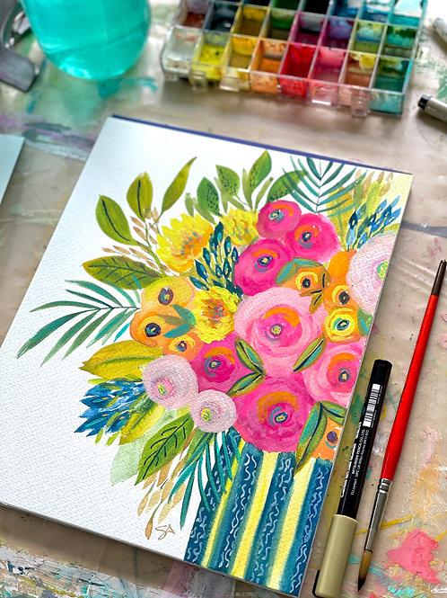 Le Petite Bouquet - 8 x 10 on watercolor paper