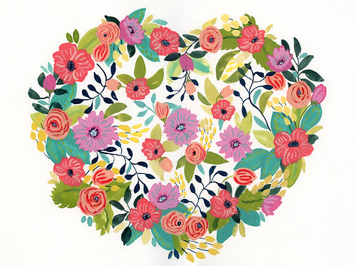 Love In Bloom -  Heart Flower Print