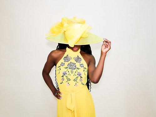 Canary Yellow Stiff Brim with Oversized Bow