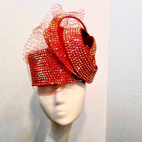 Bejeweled Hot Red Crown Pillbox